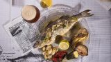 Baked whole european sea bass